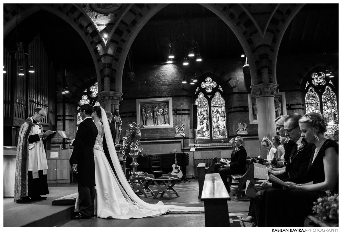 bride and groom in church in london